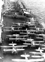 Aircraft on the flight deck of Saratoga, preparing for launching, circa 1929-30