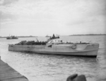 German Schnellboot S 204 at coastal forces base HMS Beehive, Felixstowe, Suffolk, England, United Kingdom, 13 May 1945