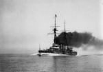Battleship Settsu underway, 1911