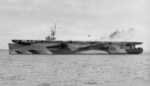 USS Shamrock Bay in measure 33 design 10A camouflage at Astoria, Oregon, United States, Apr 1944