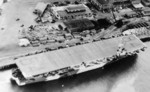 USS Shamrock Bay moored at Astoria, Oregon, United States, 6 Apr 1944; photo taken from aircraft of USS Shipley Bay