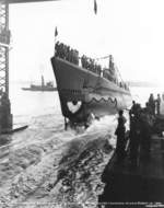Launching of submarine Snook, Portsmouth Naval Shipyard, Kittery, Maine, 15 Aug 1942, photo 1 of 2 (taken at 1510 hours)