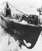 Launching of submarine Snook, Portsmouth Naval Shipyard, Kittery, Maine, 15 Aug 1942, photo 2 of 2