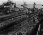 USS Spot, USS Sea Fox, and USS Queenfish at Saipan, Mariana Islands, Mar 1945
