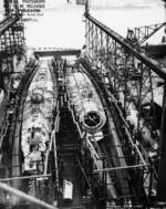 Submarines Springer (less complete) and Spot under construction, Mare Island Naval Shipyard, Vallejo, California, United States, 3 Jan 1944, photo 4 of 4