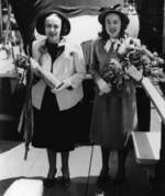 Sponsor Mrs. A. A. Gieselmann and Maid of Honor Miss Jean Gieselmann at the launching of Spot, Mare Island Naval Shipyard, Vallejo, California, United States, 19 May 1944