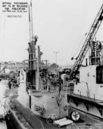 View of the conning tower of USS Barb, Mare Island Navy Yard, Vallejo, California, United States, 7 May 1945; note USS Sunfish in background