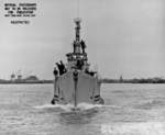 Bow view of USS Sunfish off Mare Island Navy Yard, Vallejo, California, United States, 18 Jul 1945