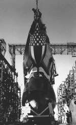 Sunfish preparing for launch, Mare Island Navy Yard, Vallejo, California, United States, 2 May 1942