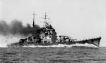 Japanese heavy cruiser Takao on a trial run at full speed off Tateyama, Tokyo Bay, 1 Jul 1932