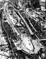 Tang (left) and Tilefish (right) under construction at Mare Island Navy Yard, Vallejo, California, United States, 1 Jul 1943, photo 2 of 3