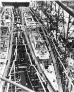 Tang (left) and Tilefish (right) under construction at Mare Island Navy Yard, Vallejo, California, United States, 1 Jul 1943, photo 3 of 3