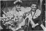 Mrs Cecily Olsen and Mrs A S Pitre at the launching of Tang, Mare Island Navy Yard, Vallejo, California, United States, 17 Aug 1943, as printed in 20 Aug 1943 edition of shipyard newspaper Grapevine