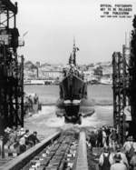 Launching of Tang, Mare Island Navy Yard, Vallejo, California, United States, 17 Aug 1943