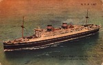 Postcard featuring Japanese ocean liner Tatsuta Maru, early 1930s