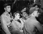 Enlisted crewmen of carrier Ticonderoga being briefed in their ready room prior to an air strike on Manila Bay, Philippine Islands in the following morning, 4 Nov 1944