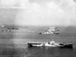 USS Wasp, USS Yorktown, USS Hornet, USS Hancock, USS Ticonderoga, and other warships at Ulithi Atoll, Caroline Islands, 8 Dec 1944, photo 1 of 3