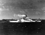 Carrier Ticonderoga at sea off the Philippine Islands, 5 Nov 1944; note camouflag pattern Measure 33 Design 10a