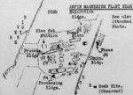Hand-drawn post-raid map of Kaneka Soda Company chemical plant (mis-identified as a magnesium plant) by personnel of Air Group 80 aboard USS Ticonderoga, 15 Jan 1945 or later; the facilities were located in Anpin District, Tainan, Taiwan
