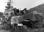 Sailors camouflaging the Tirpitz in a Norwegian fjord