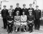 Commissioning party of USS Trepang, Mare Island Naval Shipyard, California, United States, 22 May 1944; Commander Roy Davenport seat at left of photograph