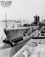 Submarine Spot at Mare Island Naval Shipyard, Vallejo, California, United States, 3 Jul 1944; note submarine Trepang in background