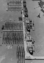52 submarines and 4 submarine tenders of the US Navy Reserve Fleet, Mare Island Naval Shipyard, California, circa Jan 1946