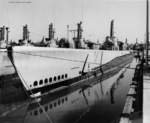 American submarine USS Icefish as a member of the Reserve Fleet at Mare Island Naval Shipyard, California, United States, 13 Oct 1948; other submarines shown were Jallao, Trepang, Spot, Stickleback