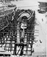Submarine Trepang under construction at Mare Island Naval Shipyard, California, United States, 6 Jul 1943; note the hulls of LSD-1 Ashland and CVE-12 Copahee also present