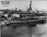 Aft plan view of DMS-12 Long upon completion of overhaul at Mare Island Naval Shipyard, California, United States, 30 Oct 1943; note submarine Trepang under construction in background