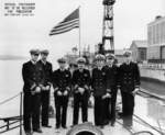 The officers of the newly commissioned USS Tunny, Mare Island Naval Shipyard, Vallejo, California, United States, 1 Sep 1942