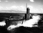 Port bow view of USS Tunny, off US Territory of Hawaii, mid-1953