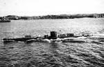 German U-boat, probably U-47, photographed from battlecruiser Scharnhorst, circa late 1939