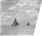 British battleship HMS Valiant and French battleship Richelieu, 1940s; photograph taken from HMS Queen Elizabeth