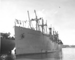 Victory Ship SS Waterbury Victory docked at Sand Island, US Territory of Hawaii, 9 Aug 1946; she had just brought back Japanese-American troops from Europe