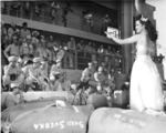Hula dancers entertain returning Japanese-American veterans of US 442nd Regimental Combat Team aboard Victory Ship USS Waterbury Victory, Honolulu, US Territory of Hawaii, 9 Aug 1946; photo 2 of 7