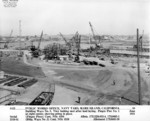 View of Ways 3 and 4 at Mare Island Navy Yard, Vallejo, California, United States, 30 Jun 1941; note hull section for future USS Wahoo at left of photo