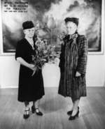 Matron of Honor Mrs. A. F. Huntington and Sponsor Mrs. William C. Baker after the launching ceremony of Wahoo, Mare Island Navy Yard, Vallejo, California, United States, 14 Feb 1942