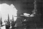 USS Washington firing her primary guns at Kirishima, off Guadalcanal, Solomon Islands, night of 14-15 Nov 1942