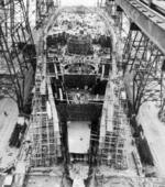 USS Washington under construction, Philadelphia Naval Shipyard, Pennsylvania, United States, circa late 1938