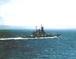 USS Washington underway off Oahu, US Territory of Hawaii, mid-1943; photo taken from USS Yorktown