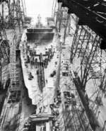 Battleship Washington under construction, Philadelphia Navy Yard, Pennsylvania, United States, 6 Jan 1939
