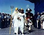 Equator crossing ceremony aboard Wasp, Jul 1942