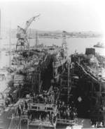 Launching of submarine Wahoo, Mare Island Navy Yard, Vallejo, California, United States, 14 Feb 1942, photo 2 of 4; note submarine Whale nearby
