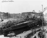Launching of submarine Wahoo, Mare Island Navy Yard, Vallejo, California, United States, 14 Feb 1942, photo 1 of 4; note submarine Whale nearby