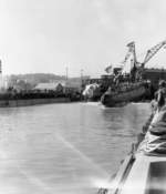Launching of submarine Wahoo, Mare Island Navy Yard, Vallejo, California, United States, 14 Feb 1942, photo 4 of 4; note submarine Whale nearby