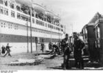 Ambulances lined up ready to take on wounded soldiers from hospital ship Wilhelm Gustloff, Jul 1940, photo 2 of 2