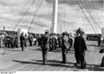 The Oslo, Norway police orchestra playing music for the wounded soldiers aboard hospital ship Wilhelm Gustloff, 1940, photo 1 of 2