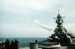 USS Wisconsin firing a BGM-109 Tomahawk cruise missile in the Persian Gulf during Operation Desert Storm, 18 Jan 1991