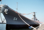 USS Wisconsin at her decommissioning ceremony, Naval Air Station, Norfolk, Virginia, United States, 30 Sep 1991